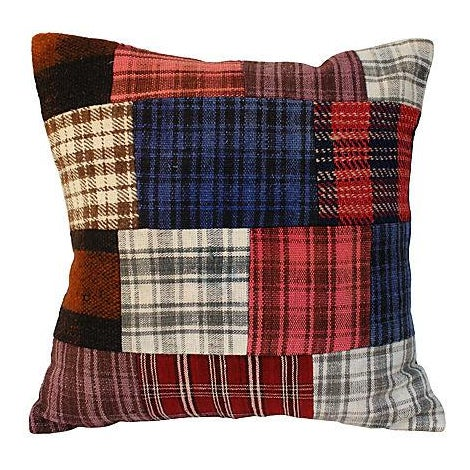 Patchwork Plaid Wool Pillow For Sale