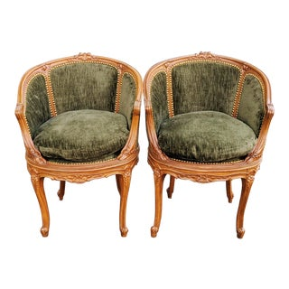 19th Century Antique Carved Walnut Louis XV Bergere Arm Chairs - a Pair For Sale