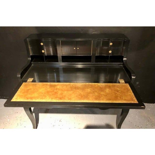 Mid 20th Century Hollywood Regency Ebony Ladies Desk Louis XV Style Stamped Jansen For Sale - Image 5 of 13