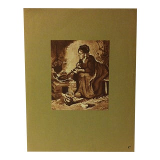 """Mounted Vintage Print on Paper, """"Women at the Hearth - 1885"""" - Circa 1930 For Sale"""