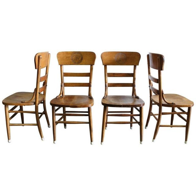 Country Pre Prohibition Jung Brewery Tavern Chairs - Set of 4 For Sale - Image 3 of 3