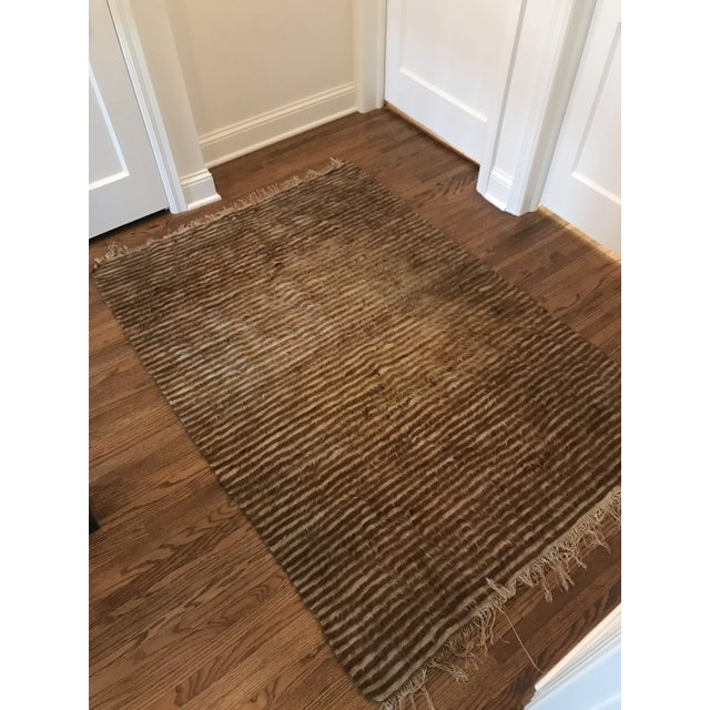 Late 20th Century Vintage Striped Goat Hair Rug/Blanket- 46x70 For Sale - Image 5 of 8