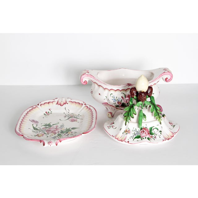 Ceramic A Large French Faience Tureen With Platter For Sale - Image 7 of 11