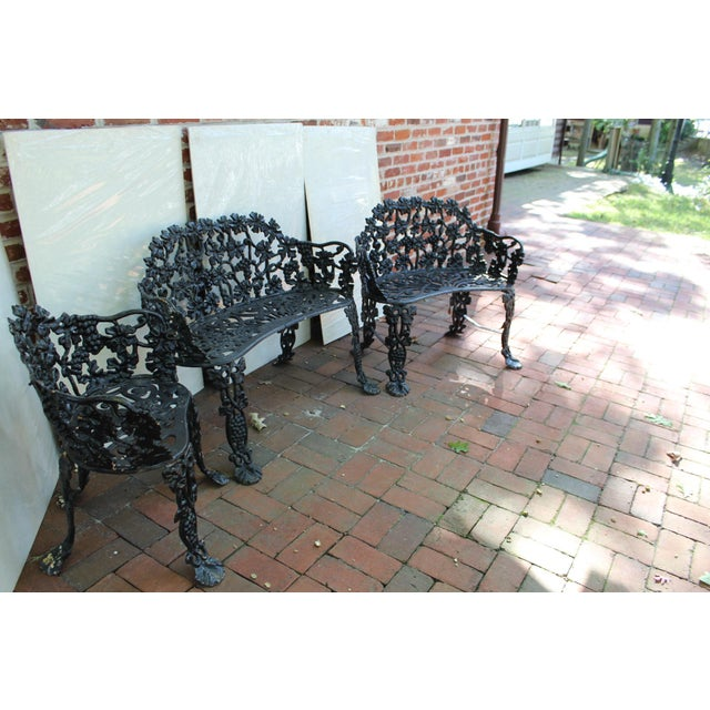 Antique Victorian Cast Iron Grape Vine Garden Set - 3 Pieces For Sale In Philadelphia - Image 6 of 7