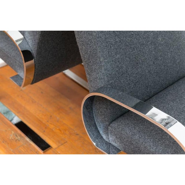 Gray Wool & Chrome Cantilever Armchairs - a Pair For Sale In San Francisco - Image 6 of 9