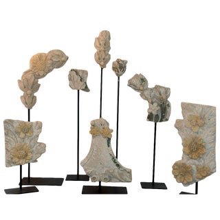 19th Century Stone Fragments on Stands - Set of 8 For Sale