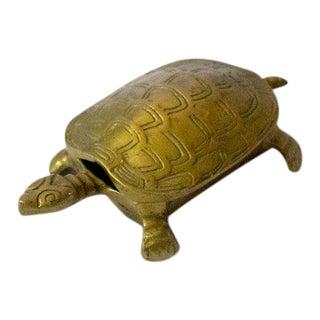 Vintage Brass Turtle Trinket Box For Sale