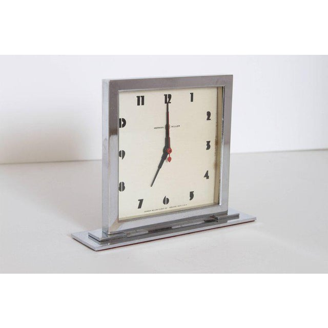 Chrome Machine Age Art Deco Gilbert Rohde for Herman Miller Original Working Clock For Sale - Image 7 of 11