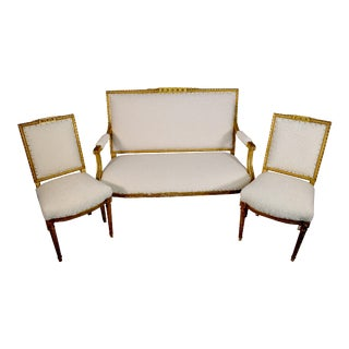 19th Century French Giltwood Settee and Chairs