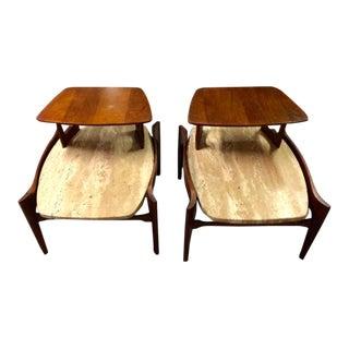 Bertha Schaefer Travertine & Walnut Side Tables - A Pair