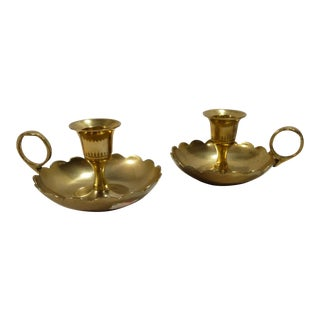 1960s Mid-Century Modern Brass Candleholders With Finger Rings - a Pair For Sale
