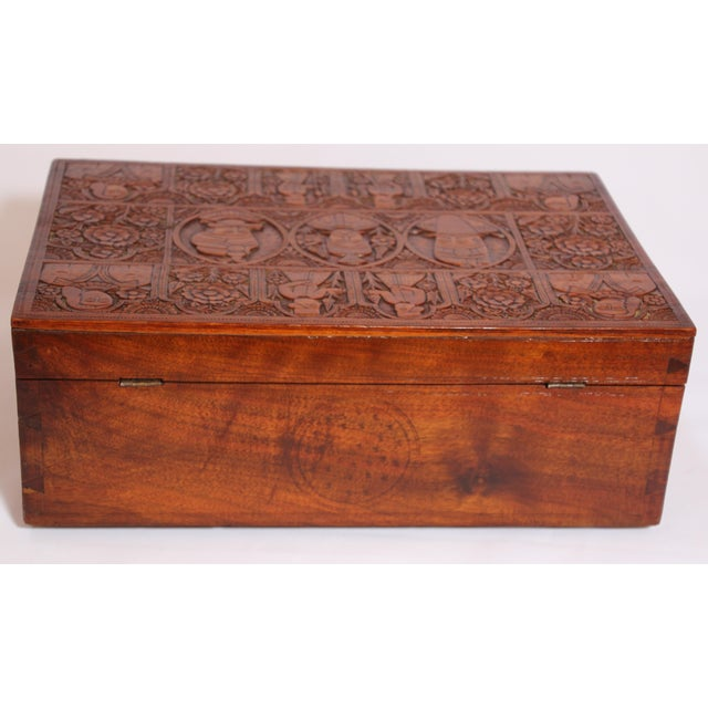 Large Early 19th Century Antique Hand Carved Wooden Decorative Box For Sale - Image 10 of 13