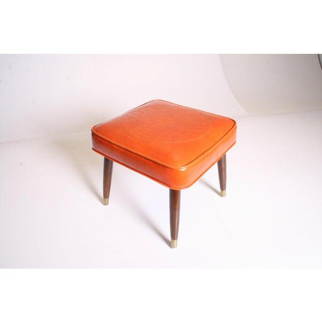 Mid Century Modern Orange Vinyl Foot Stool - Image 7 of 11
