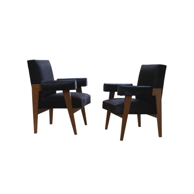 """""""Advocate & Press"""" Bridge Style Lounge Chairs Upholstered in Brazilian Cowhide- a Pair For Sale - Image 4 of 7"""