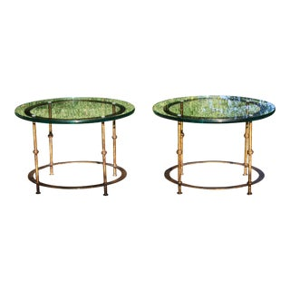 Mid-Century Round Gilt Iron and Glass Coffee Tables / Side Tables - a Pair For Sale
