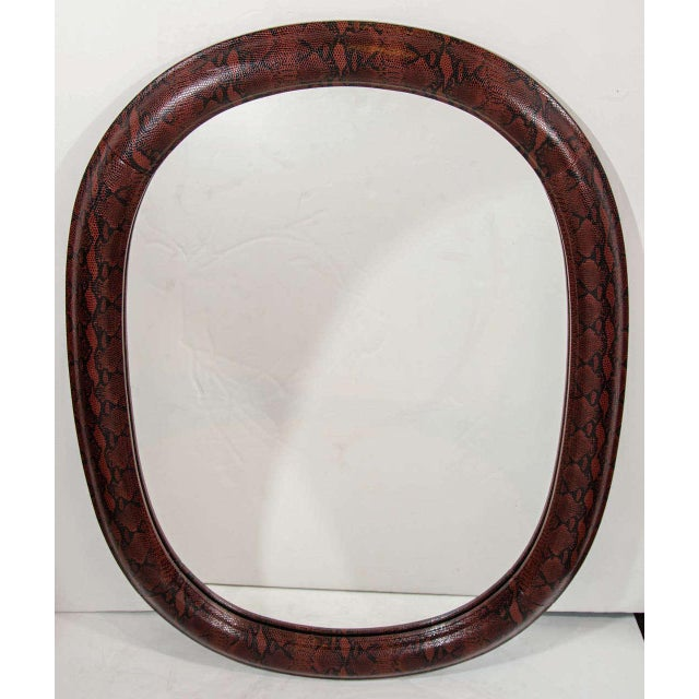 Mid-Century Modern Burgundy Leather Mirror With Embossed Print For Sale - Image 4 of 11