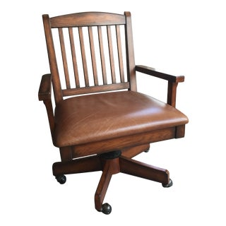 Mid Century Walnut Swivel Bankers Chair For Sale