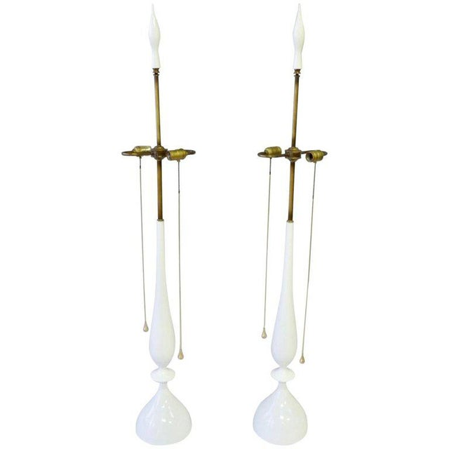 1960s White Lacquer With Brass Pull Rembrandt Table Lamps - a Pair For Sale - Image 5 of 5