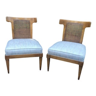 Mid Century Bull Horn Slipper Cane Chairs- A Pair For Sale