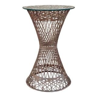 Outdoor Spun Fiberglass Bar Height Table With Glass Top For Sale