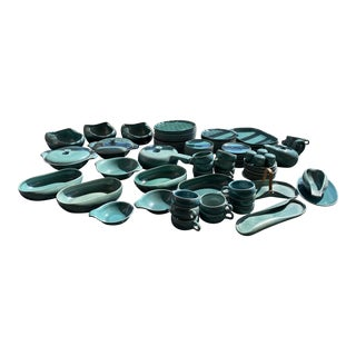 Russell Wright Seafoam Green American Modern Dinnerware by Steubenville - 109 Piece Set For Sale