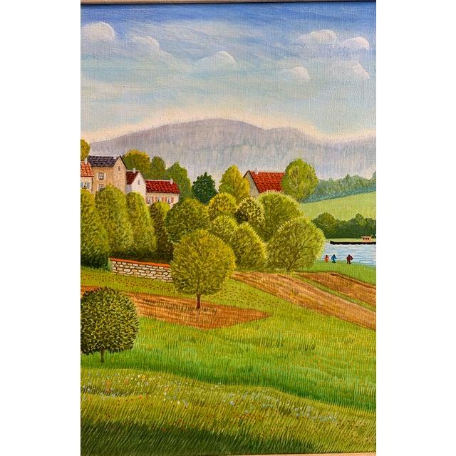 """Figurative 1970s Andre Bouquet Painting """"Village De l'Ite Au France"""" For Sale - Image 3 of 11"""