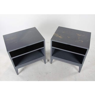 1980s Mid-Century Modern Black Glass Tile Side Tables - a Pair Preview