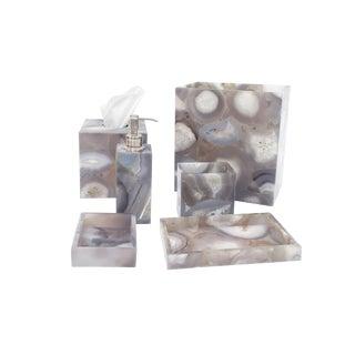 Natural Agate Bath Set Accessories - 6 Pieces For Sale