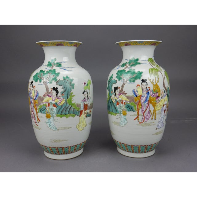 Gorgeous Pair of Chinese Famille Rose Mirror Imaged Immortal Vases For Sale - Image 9 of 13