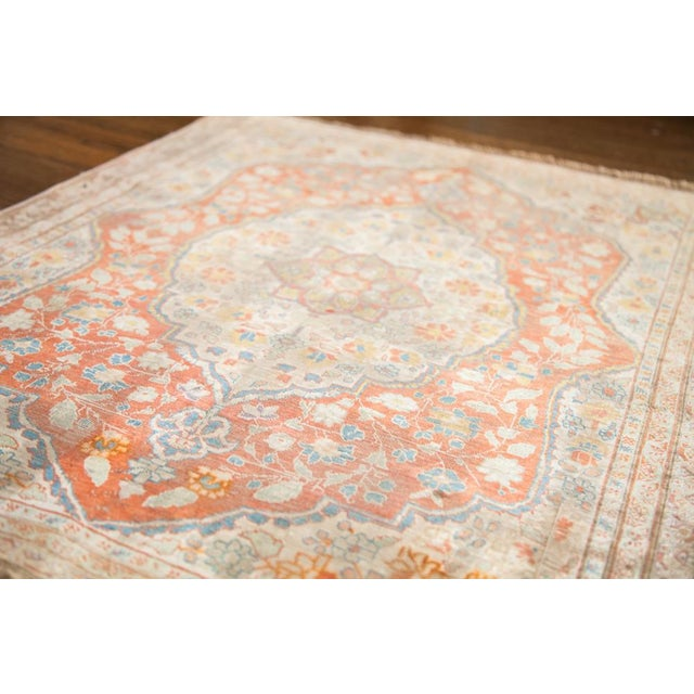 "Antique Silk Tabriz Rug Mat - 2'2"" X 2'9"" For Sale In New York - Image 6 of 7"