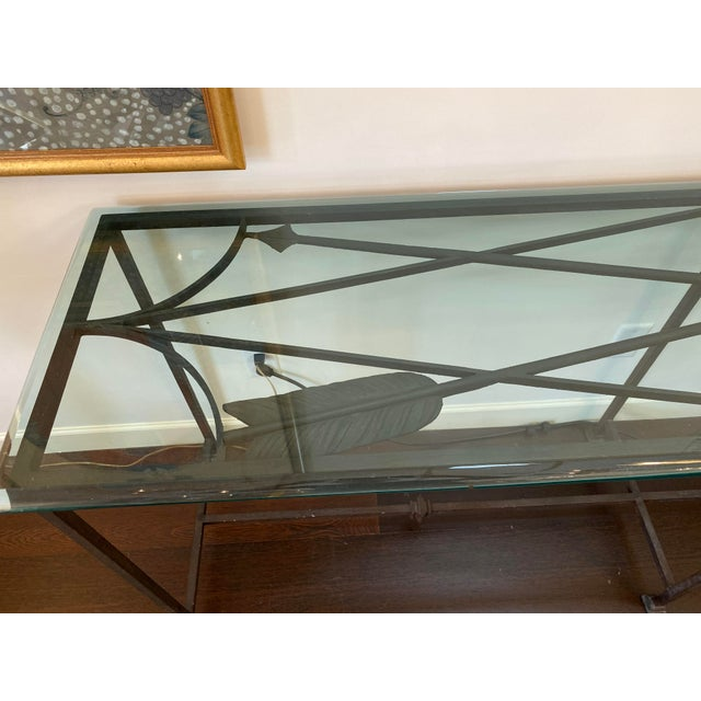 Iron and Glass Arrow Motif Console For Sale In New York - Image 6 of 12