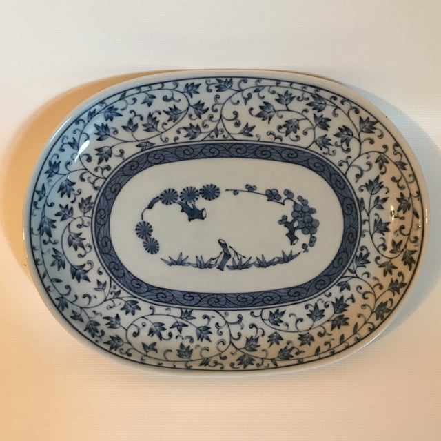Ceramic Blue and White Chinese Porcelain Oval Dish For Sale - Image 7 of 7