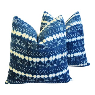 "Blue & White Mali Tribal Textile & Linen Feather/Down Pillows 22"" Square - Pair For Sale"