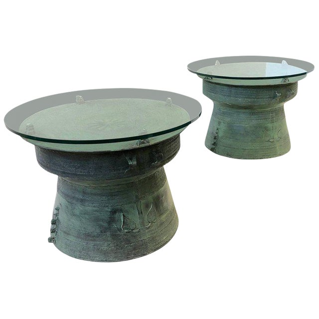 Pair of Bronze and Glass South Asian Rain Drum Tables For Sale
