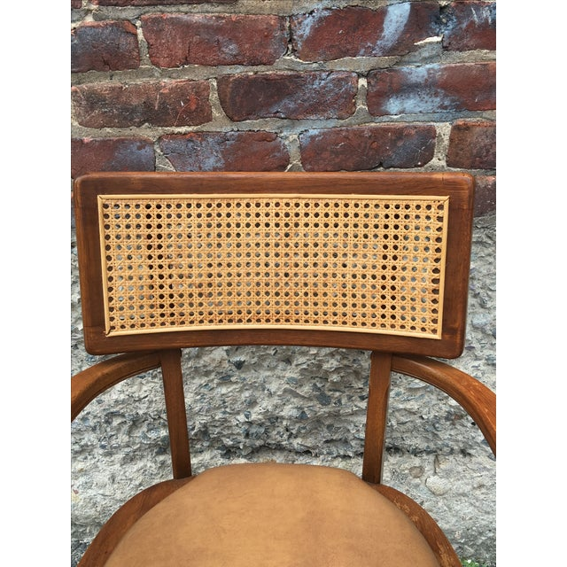 Mid-Century Changebak Cane & Wood Accent Chair - Image 7 of 7