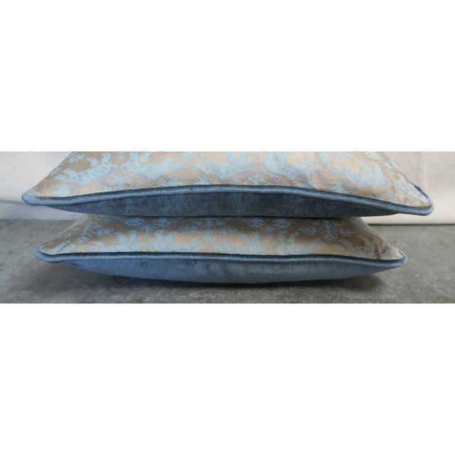 Late 20th Century Blue Richelieu Lion Fortuny Pillows - a Pair For Sale - Image 5 of 7
