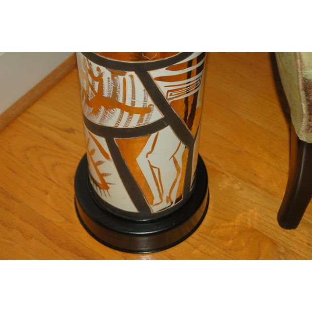 Hollywood Regency Marbro Italian Porcelain Floor Lamp Gold For Sale - Image 3 of 12