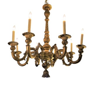 Italian Gilt Wood Chandelier For Sale