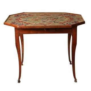 19th Century French Tapestry Top Game Table For Sale