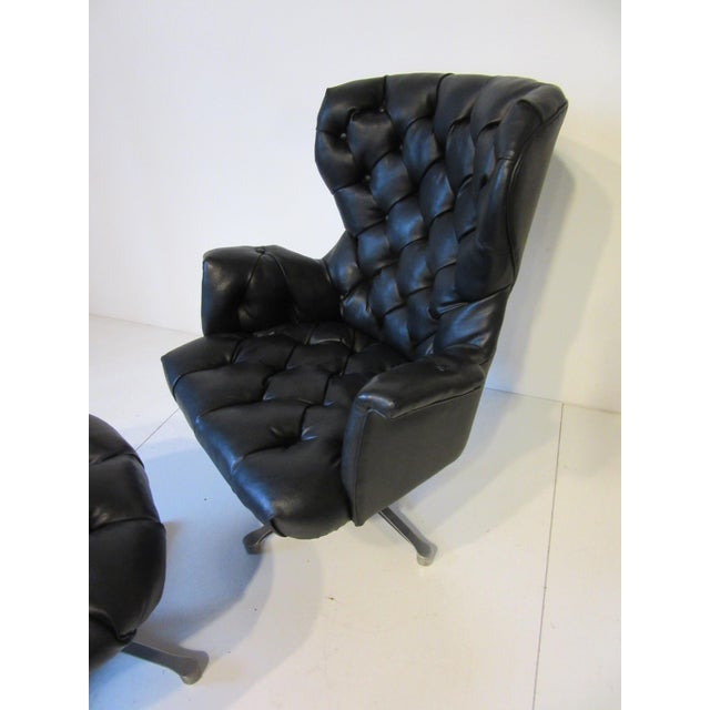 Tufted Swiveling Lounge Chair and Ottoman For Sale - Image 9 of 10