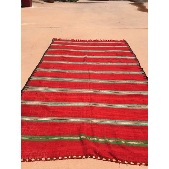 Vintage Moroccan flat-weave Kilim rug. Large size blanket vintage Moroccan rug, handwoven by Berber women in Morocco for...