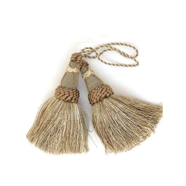 Khaki Key Tassels in Khaki and Bronze With Ruche Trim - a Pair For Sale - Image 8 of 12