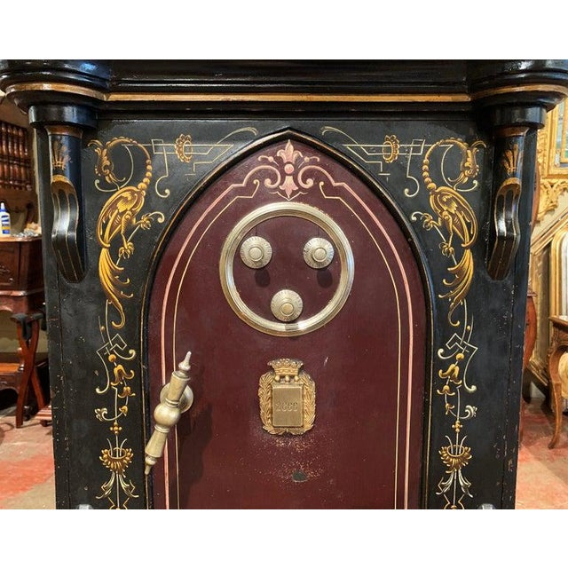 Metal 19th Century Spanish Hand Painted Iron Safe With Keys and Locking Combination For Sale - Image 7 of 11