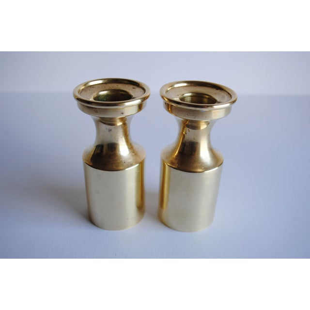 Mid Century Brass Candle Holders - a Pair - Image 4 of 4