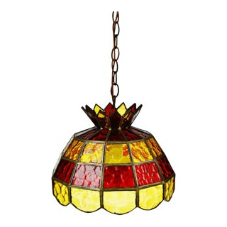 Mid Century Stained Glass Amber and Red Glass Pendant Chandelier For Sale