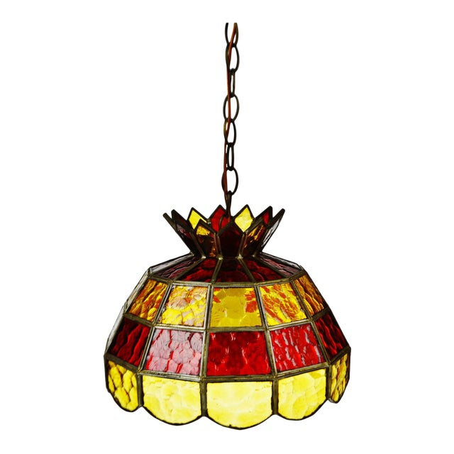 Mid century stained glass amber and red glass pendant chandelier mid century stained glass amber and red glass pendant chandelier mozeypictures Image collections