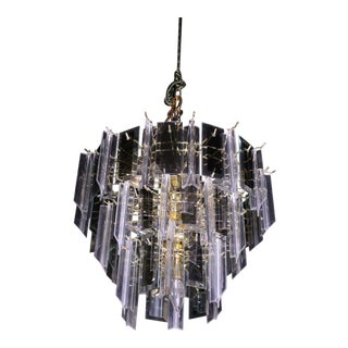 Modern Smoked Glass Mirror Lucite Chandelier Hanging Light Fixture Lamp Shade For Sale