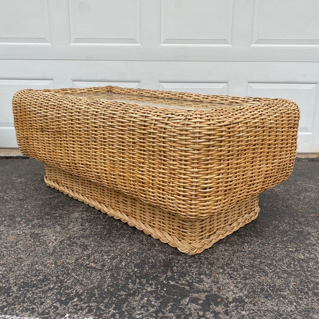 Boho Chic Natural Woven Rattan and Glass Plinth Coffee Table For Sale - Image 3 of 8
