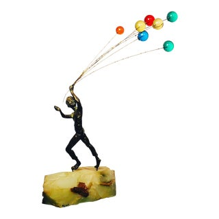 Rare Model of Sculpture of Boy Holding Balloons by Curtis Jere For Sale