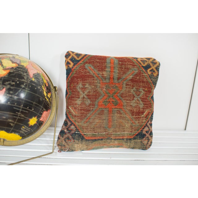 Antique Caucasian Rug Fragment Pillow For Sale - Image 4 of 5